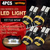 4 Pcs CANBUS T10 LED License Plate Light Bulbs 6000K Bright White 168 2825 194