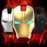 Iron Man Mouse Silent Wireless Gaming Mouse LED Optical Mouse For PC Laptop