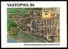 FOGLIETTO ERINNOFILO 1986 VASTOPHIL CITTA' DI VASTO VEDUTA CARTINA CITTA' RARO