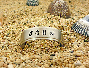 Hand Stamped Economy Brushed Stainless Steel Name Ring For Men or Women