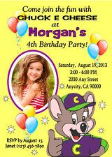 CHUCK E CHEESE CUSTOM BIRTHDAY PARTY INVITATION & FREE THANK YOU CARD