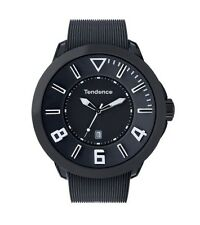 TENDENCE TT530002 GULIVER BLACK RUBBER BAND BLACK DIAL DATE QUARTZ MENS WATCH