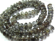 """NATURAL BLACK Needle Rutilated Faceted  Rondelle NECKLACE BEADS 7 TO 9 mm 17"""""""