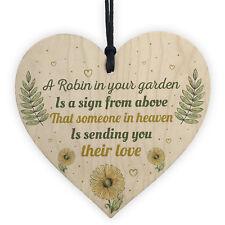Robin Garden Memorial Grave Wooden Hanging Heart Sign Rememberance Plaque
