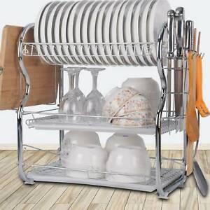 Kitchen Dish Drainer Cutlery Holder Plates Bowls Utensils Rack Round 3Three Tier