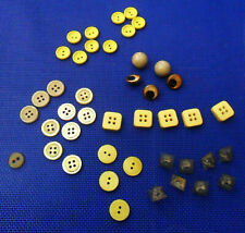 Lot: 43 Vintage Plastic Yellow or Beige BUTTONS:  Round, Square, Eyes, In Relief