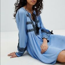 "$148 Free People ""Wind Willow"" Blue River Skies Embroidered Peasant Dress M NWT"