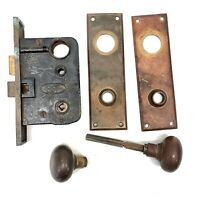 Vtg Lockwood Entry Mortise Lock Deadbolt Door Back Plates Brass Hardware Antique