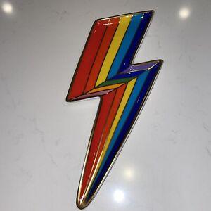 Jonathan Adler Rainbow Lightning Bolt Trinket Tray Gold Trim Modern Home Decor