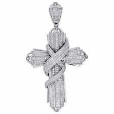Cross Pendant Pave Charm 0.60 Ct. 10K White Gold Finish Diamond Swirl Curtain