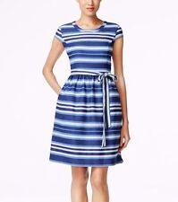 $99 NWT Nine West Riviera Combo Blue Country Stripe Cap Sleeve Dress Belt BOW 8