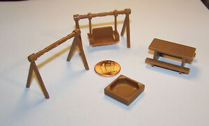 LOT of Small scale Miniature Plastic OUTDOOR PLAYSET Swing PICNIC TABLE Sandbox