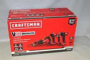 Craftsman CMCK420D2 20V Brushless 4 Tool Combo Kit NEW Drill Impact Saw Light