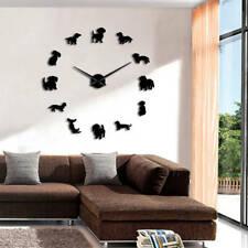 DIY Dachshund Wall Art Wiener Dog Puppy Frameless Giant Clock With Mirror Effect