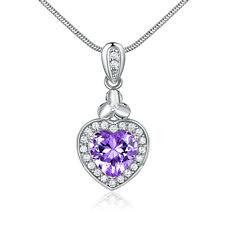 Dangle Drop Heart Amethyst Silver White Gold Filled Pendant Women Lady Necklace