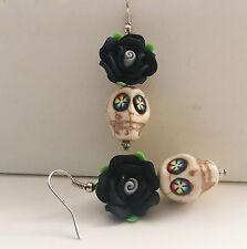 Sugar Skull Earrings. White & Black Rose