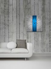 Modern Blue Silver Wall Clock Contemporary Decor Large Metal Abstract Art Clocks
