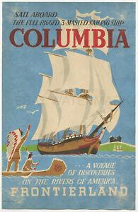 1969 Disneyland Columbia vintage poster Frontierland