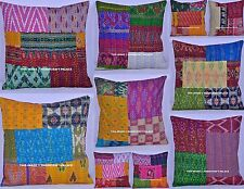 100 PC Wholesale Lot Cushion Cover Indian Silk Kantha Work Pillow Patchwork Sham