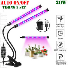 Dual Head Plant Grow Light Lamp + 40 LED for Indoor Plants Hydroponics 20W PASCC