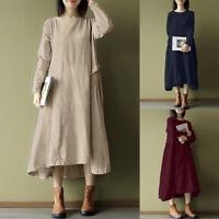 ZANZEA Women Vintage Long Shirt Dress Asymmetrical Hem Baggy Kaftan Midi Dresses