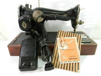 Singer Sewing Machine Model 15 Gear Drive Pedal & Manual Vintage 1935 3E