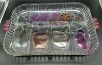Vintage Indiana Glass Serving Tray Divided Relish Dish Rainbow Mist