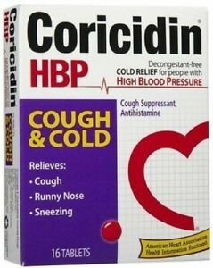 Coricidin HBP High Blood Pressure Cough & Cold - 16 Tablets