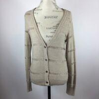 Ann Taylor Loft Beige Open Knit Shimmer Cardigan Sweater Size Medium
