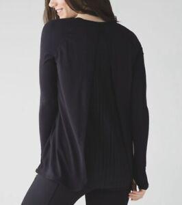 Lululemon Making Moves Black Pleated Back Long Sleeve Top 12