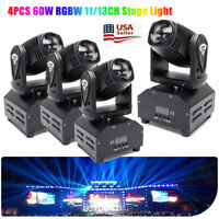 4Pcs RGBW Moving Head Stage Lighting 60W LED DJ DMX Beam Bar Disco Party Light