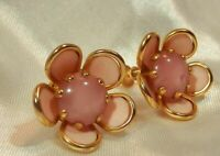 Pink Glass Center Lucite Petal Vintage 1950's Flower Screw Back Earrings  202JL9