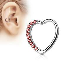 Silver 16 Gauge Heart  Ear Cartilage/Daith Hoop Ring with Red Lined CZ Set