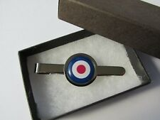 RAF Roundel Target MOD Mens Silver Plated Round Tie Pin Slide Gift Box