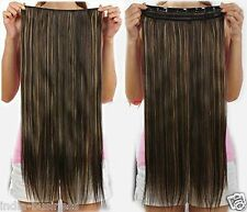 Black Color Golden Highlighted Straight clip on off fake Hair Extension 26 inchs