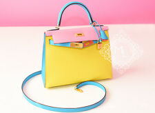 HERMES SOUFRE ROSE CONFETTI BLUE AZTEQUE AZTEC PINK SELLIER KELLY 28 BAG KELLY