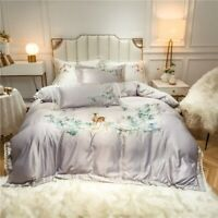 Chic Embroidery Deer Flowers Duvet Cover Silky Cotton Bed Sheet Bedding Set 4Pcs