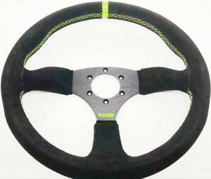 KODE-350mm Half Dish Suede Steering Wheel Green Stitch Fit 6x70mm PCD Boss Kit