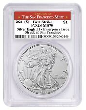 Presale - 2021 (S) Silver Eagle Pcgs Ms70 First Strike Emergency Issue Sf Label