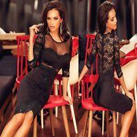 Sz M 10 12 Black Lace 3/4 Sleeve Mesh Formal Cocktail Party Slim Fit Midi Dress