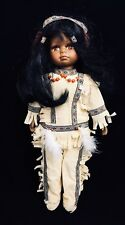 "VTG 90s Native American Girl Doll 16"" Vinyl Plush Figure Brown Tradtional Outfit"