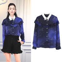 Unicorn Collar Starry Print Chiffon Shirt Blouse Long Sleeve Top Casual Fashion
