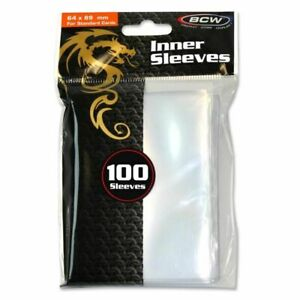 100 BCW Standard Size Clear Inner Card Sleeves 64mm x 89mm Fits Standard Sleeves