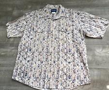 Vintage Wrangler Short Sleeve Shirt XL Aztec Western Cowboy Pearl Snap Navajo