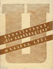 Künstlerbund Die Unabhängigen München 1931 Katalog dritte Juryfreie Kunstschau