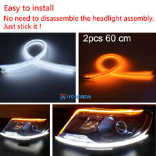 2pcs Car DRL Daytime Running Lamp Strip Switchback Flowing Turn Signal LED Light