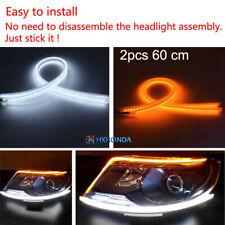 2pcs Car DRL Daytime Running Lamp Strip Switchback Flowing Turn Signal LED Light