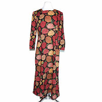 LIBERTY OF LONDON Vintage Exclusive Fabric Floral Red Yellow Black Dress Large