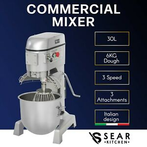 Planetary Mixer 30 Litre Commercial Stand - Food Dough Pizza Bread - 3 Agitators