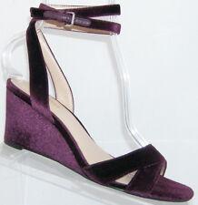 Nine West Vartan purple velvet peep toe ankle buckle strap wedge heel 7.5M